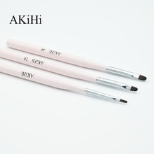 Akihi prego arte design pintura polonês escova uv gel prego desenhar caneta ferramentas cabeça redonda rosa lidar com tampa de metal