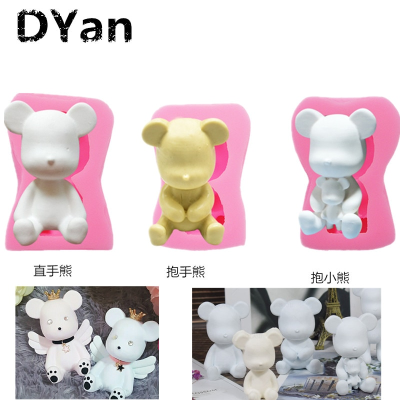 Nuevo Fondant molde de silicona para pastel DIY mano derecha abrazo de oso pastel en forma de oso decoración para hornear molde