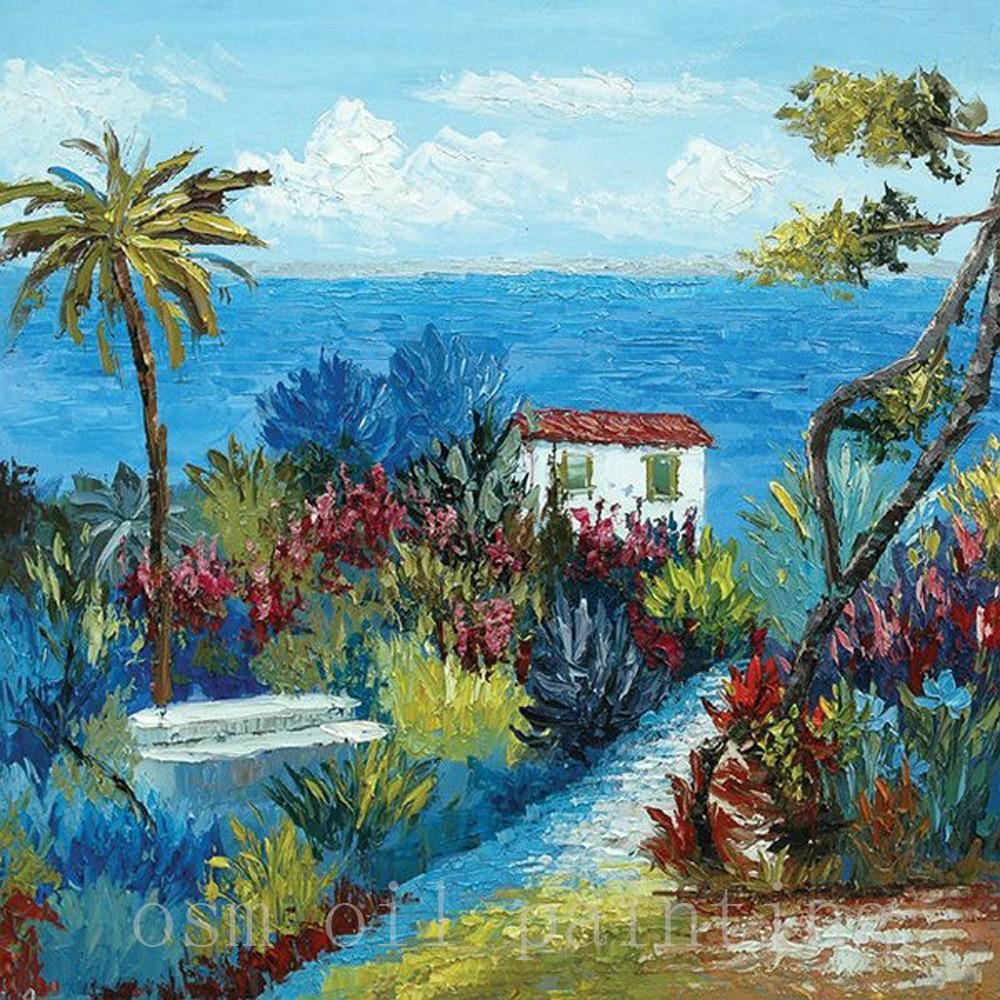 Pintura de mano paleta mediterránea cuchillo paisaje marino pintura al óleo hecha a mano moderno abstracto hermoso paisaje lienzo cuadro Acrílico