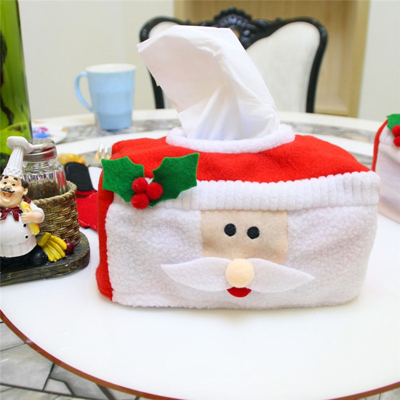 Estilo de Navidad Santa Claus Belt Felt Tissue Box servilleta creativa para toallas de papel titular decoración del hogar