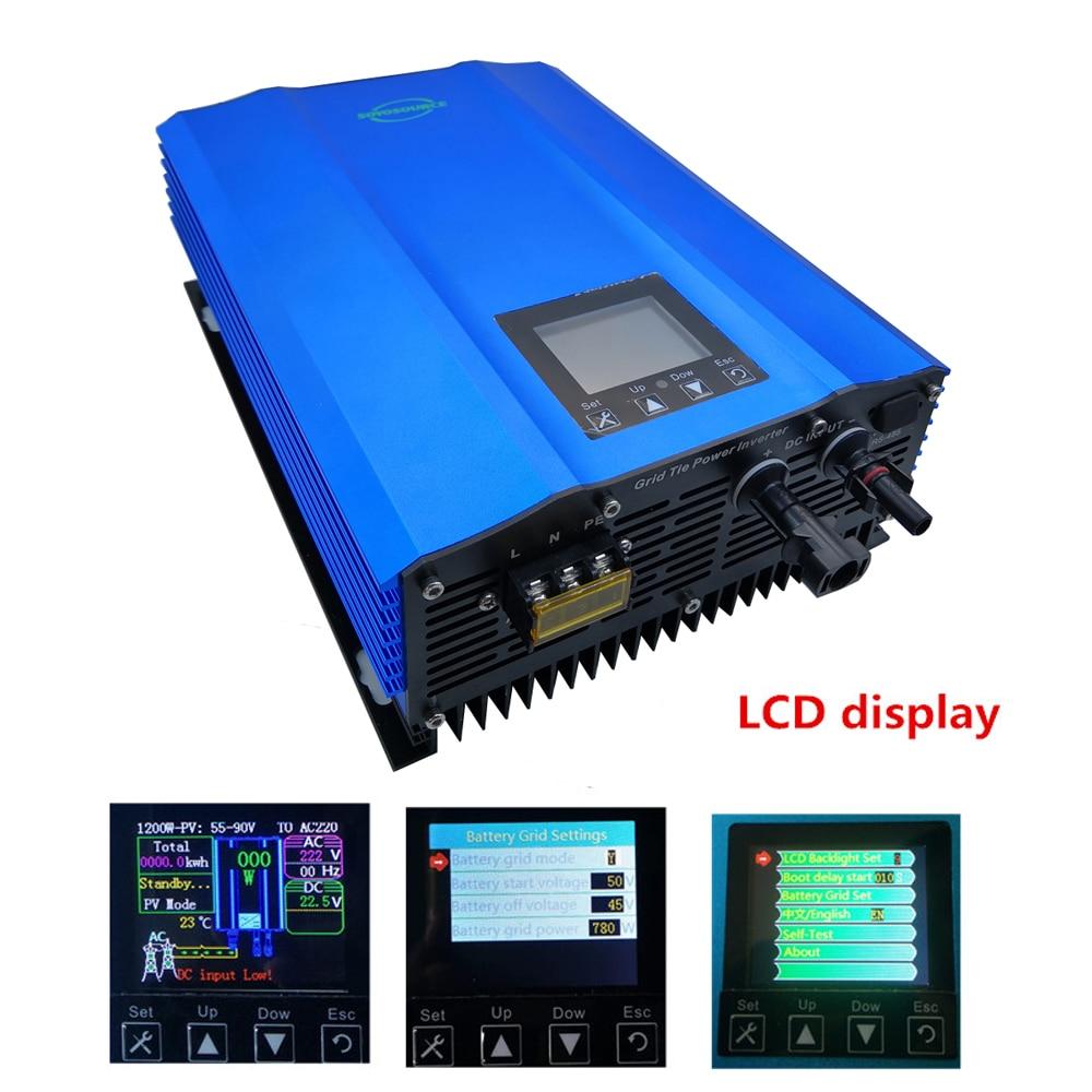 Hohe effizienz 1000 W micro grid tie inverter LCD Adjutable batterie entladung Reine sinus welle solar home system inverter