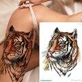 Временная татуировка с тигром, искусственная татуировка с животными, волком, лисицей, лосями, татуировка с единорогом, лошадью, сексуальная искусственная татуировка для женщин и девочек - фото