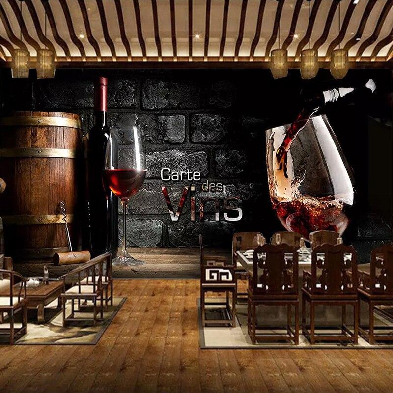 Papel tapiz personalizado 3D, estilo europeo, Mural de pared de ladrillo y vino rojo Retro, pintura para pared, Mural de decoración para bodega, Bar, restaurante occidental