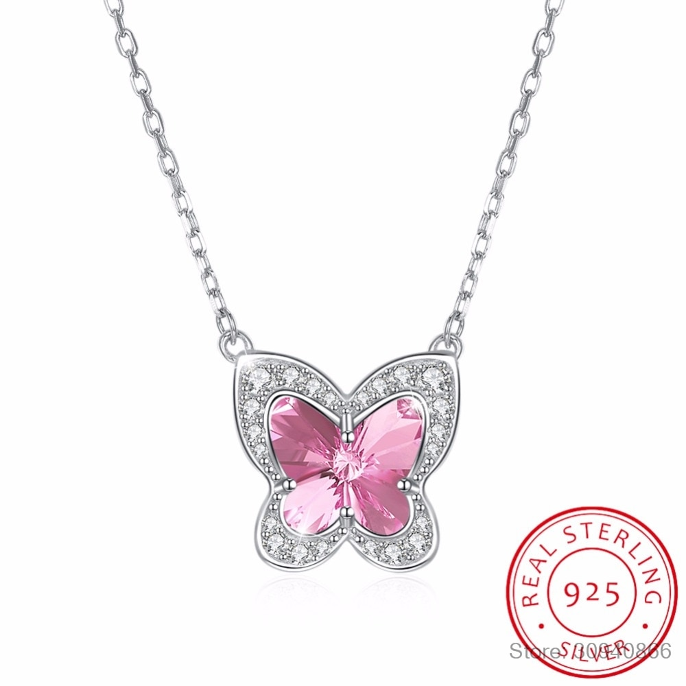 LEKANI, joyería fina hecha con Lekani, mariposa de cristal Real S925, collar de plata de ley azul y rosa para regalo de mujer, producto en oferta