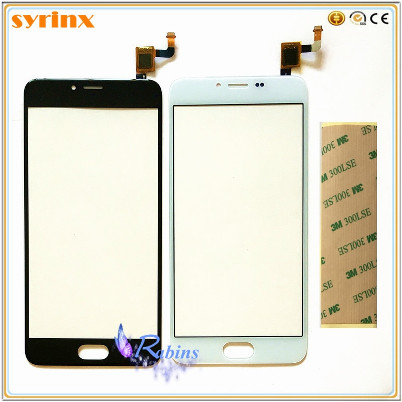 "SYRINX 5,2 ""para Meizu M5 M5 Mini Panel táctil digitalizador Sensor Lente de Cristal frontal pantalla táctil partes TouchPad 3m cinta"