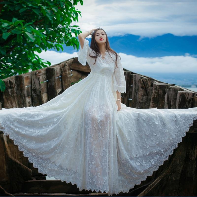 2017 Summer Original Vintage Fantasy Maternity Pregnant Women Photography Props Beach Long White Dress Fancy Skirt enlarge
