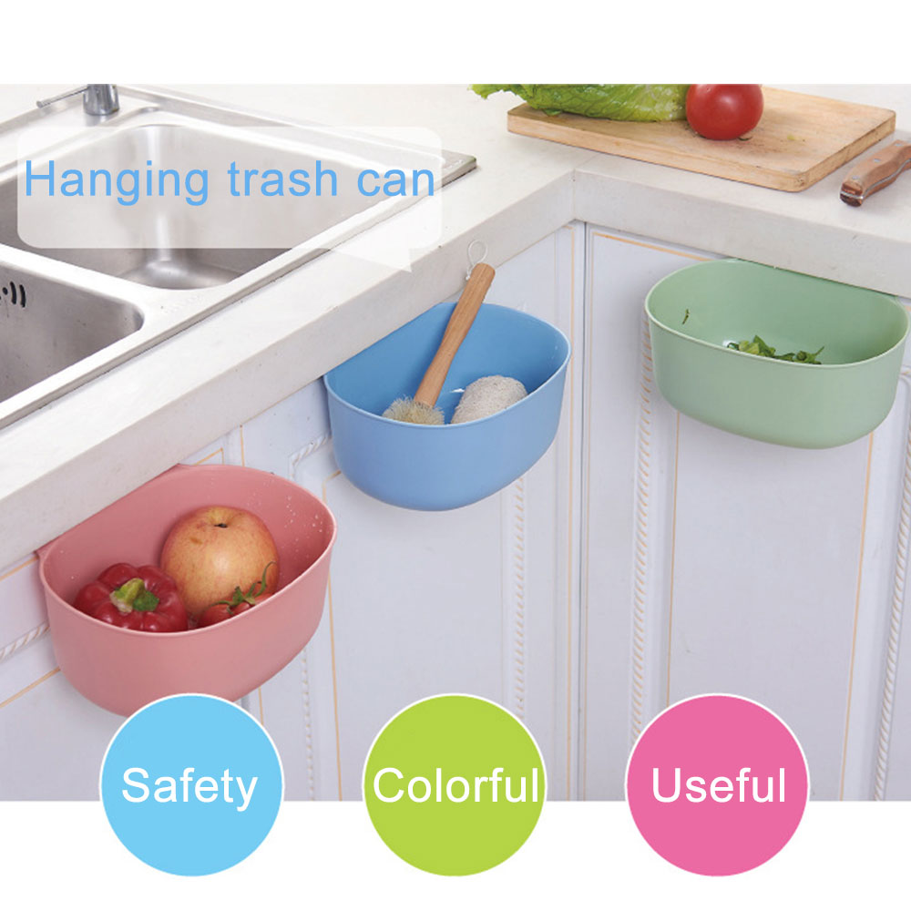 Hanging Trash Can Cupboard Door Storage Garbage Bucket Plastic Bin Holder Large Capacity Ash Urns  Organizer Kitchen Accessories