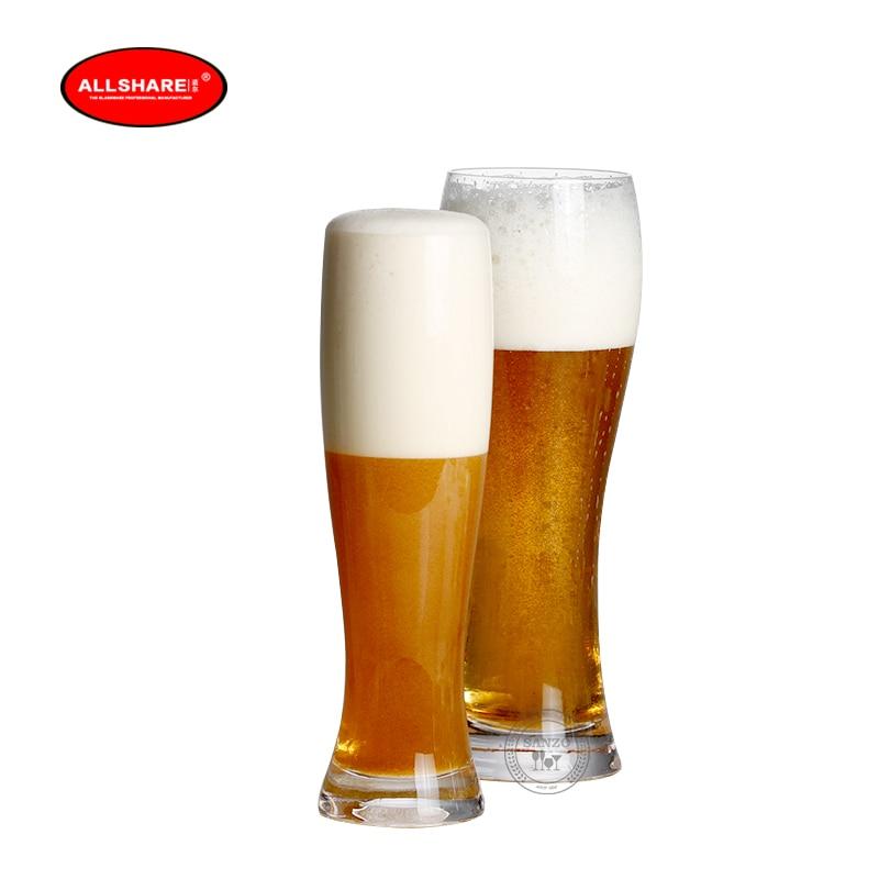 2pcs old fashion handmade blown lead-free crystal beer glass set 330ml 500ml 60000X