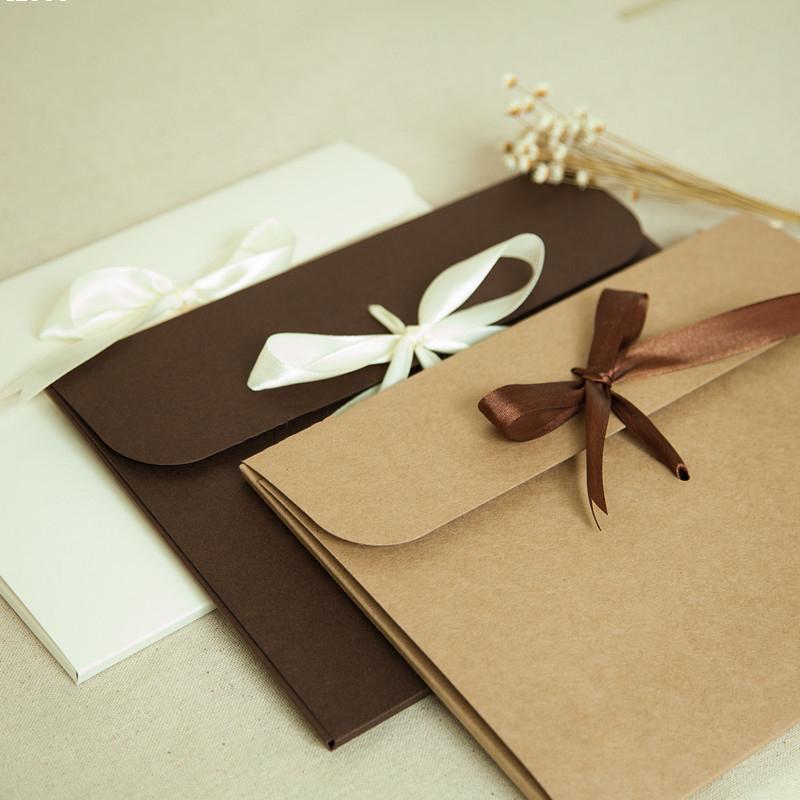 Gift Card Envelope Case Style Kraft Paper Bow/Box&Silk Handkerchief Box Elegant Envelope Packing Boxes Envelope 1Pcs 24*18*0.7cm