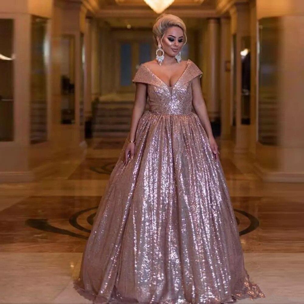 Блестящее розовое золотистое бальное платье пышные платья с V образным вырезом