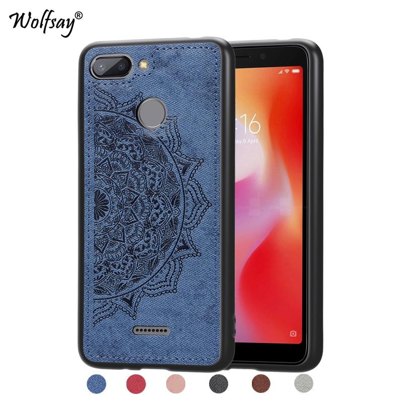 Para xiaomi redmi 6 à prova de choque macio tpu silicone pano textura dura caso do telefone para xiaomi redmi 6 capa traseira para xiaomi redmi6