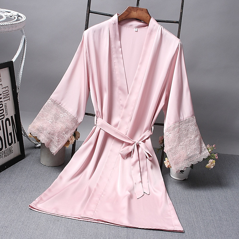 Bridesmaid Robes Satin Robe Bride Elegant Sleepwear Sexy Lace Women Dressing Gown Bathrobe Kimono Si