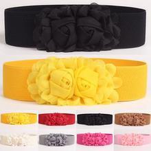 Mode femmes fille mode large Stretch taille élastique ceinture couleur unie fleur ceinture cadeau
