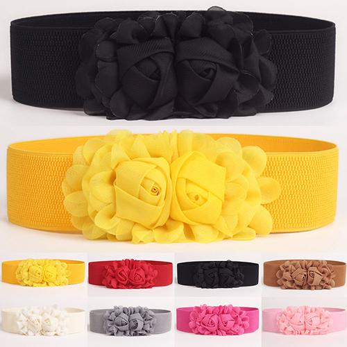 Moda feminina menina moda largo estiramento elástico cinto de cintura cor sólida flor cós presente