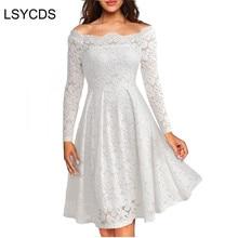 Femme robes 2020 manches longues Slash cou tenue de fête de mariage décontracté a-ligne Sexy rouge noir blanc dentelle robe grande taille S-3XL