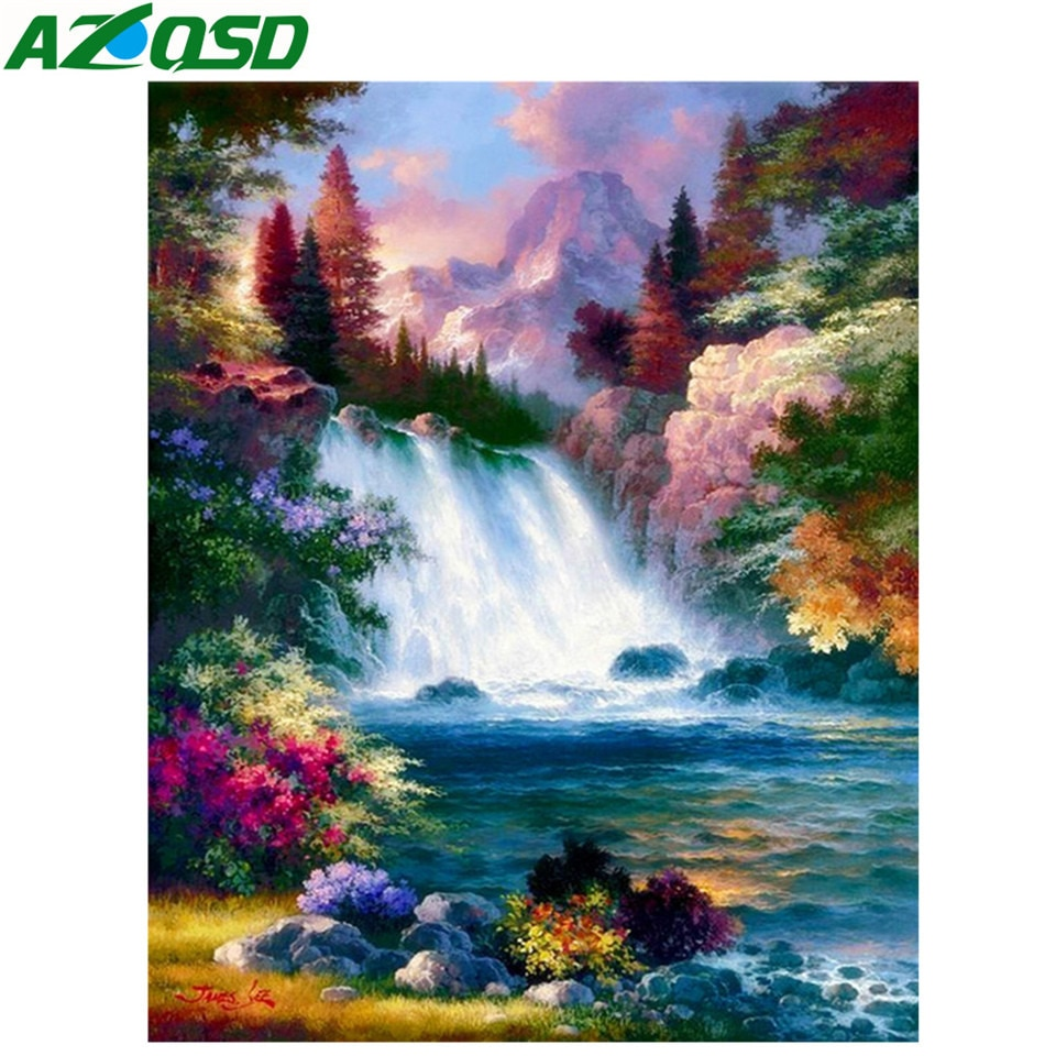 Pintura de diamante AZQSD, paisaje completo de perforación, decoración del hogar, imagen de diamantes de imitación, mosaico de diamantes, cascada, punto de cruz, artesanías