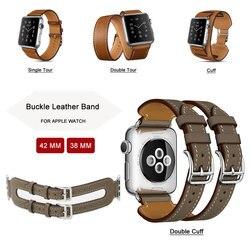 Moda dupla turnê pulseira pulseira de couro extra longa pulseira de couro genuíno para apple assistir banda 42mm 38mm série 3/2/1