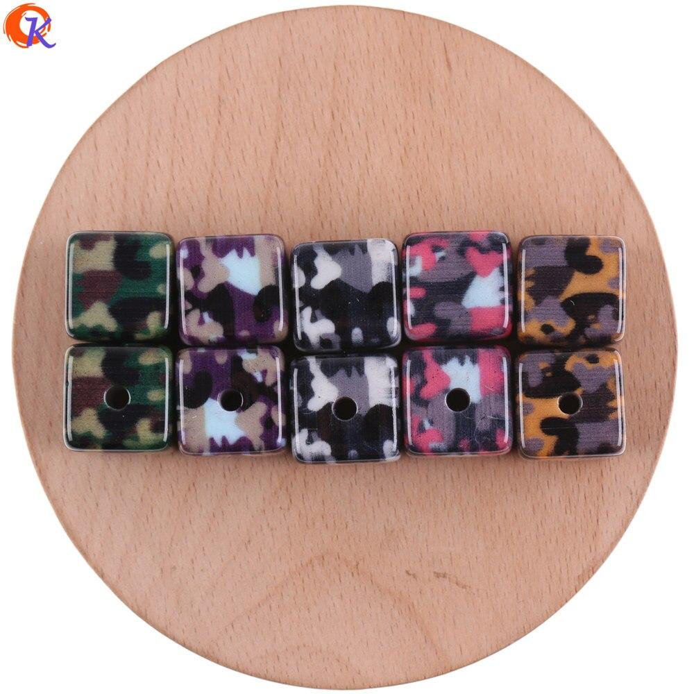 Accesorios de joyería cordial Design de 16mm 50 Uds./Cuentas acrílicas/hecho a mano/forma de cubo/piezas DIY/Cuentas estampadas de camuflaje/hallazgos de pendientes