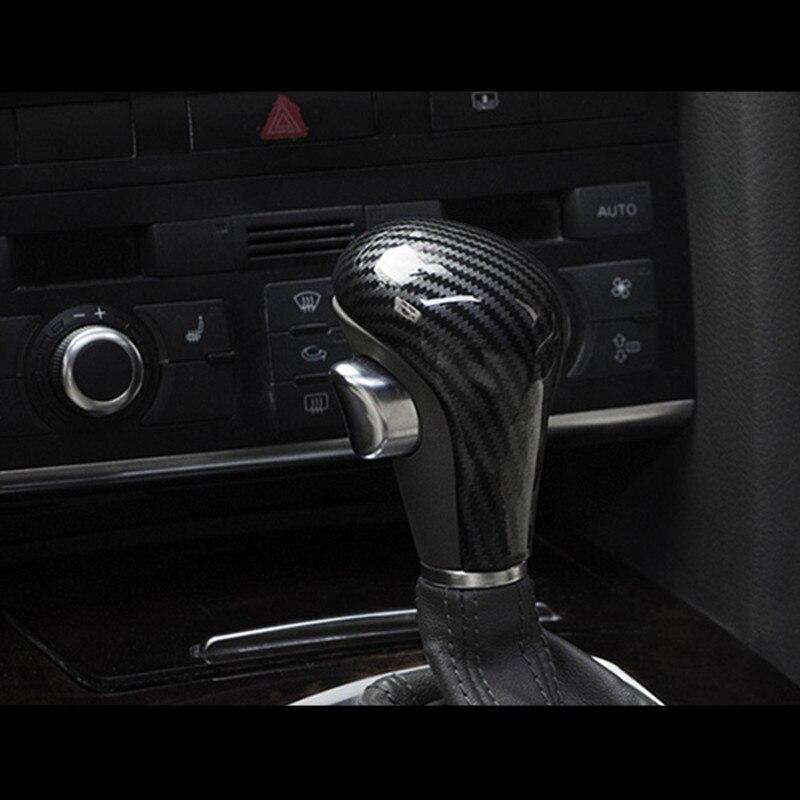 Carbon Fiber Styling Gear Shift Knob Head Cover Sticker For Audi A6 C6 A4 B7 A5 Q5 Q7 LHD Automatic Gearshift Trim