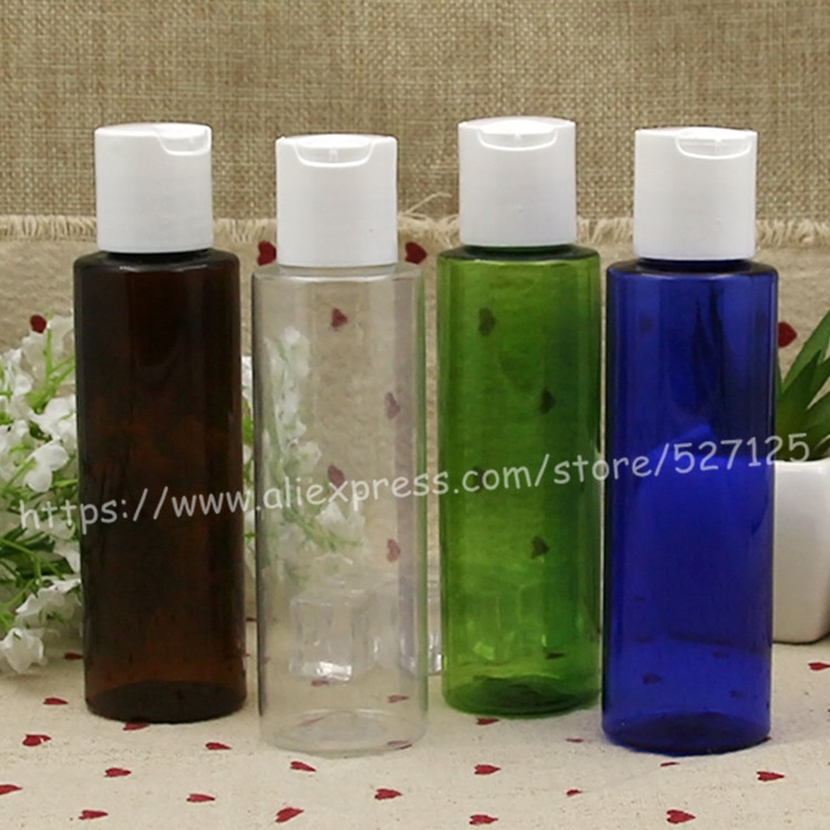 100ml claro/azul/marrón/botella verde PET con tapa de disco de PP blanco, aceite esencial/líquido/hidratante/recipiente de agua facial