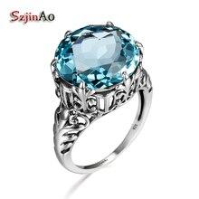 Szjinao 925 en argent Sterling aigue-marine anneau de luxe rond bleu ciel Art déco anneaux mariage fiançailles princesse couronne femmes bijoux