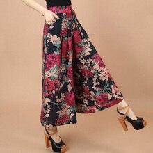 Grande taille été femmes imprimer motif de fleurs jambe large pantalon de robe en lin ample femme jupe décontractée pantalon Capris Culottes N597