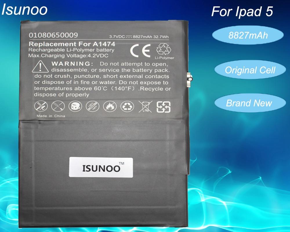 ISUNOO nuevo 8827mAh Li-ion reemplazo de la batería interna para ipad 5 Air A1484 A1474 1475 0 Cycly batería con herramientas de reparación