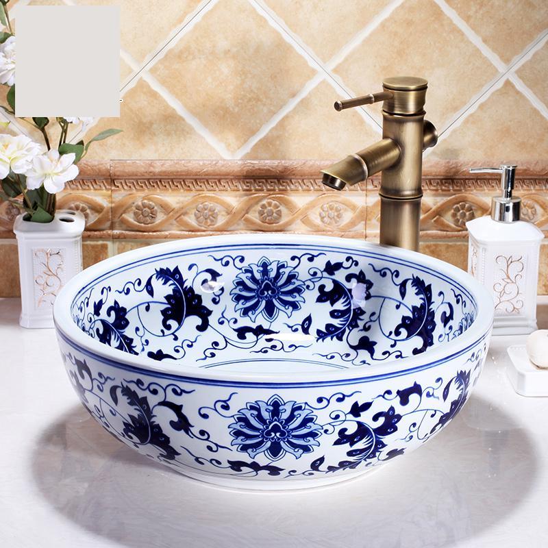 Lavabo de arte azul y blanco chino de porcelana de Jingdezhen, lavabo hecho a mano, lavabo chino