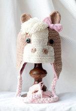 Chapeau de cheval 100% coton pour filles   Livraison gratuite, chapeau à rabat pour enfants, adorable, en tricot, fait à la main, cape de Photo