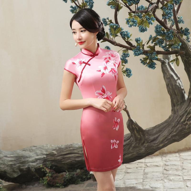 Chinese Cheongsam Elegant Slim Floral Casual Vintage Women Dress Satin Tang Suit Short Dresses S-XXL