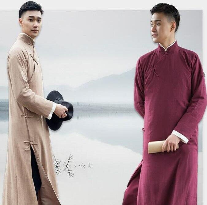 Alta calidad estilo único vestido de exposición de conversación ropa larga para Oversea algodón chino Lino rendimiento asiático bata larga