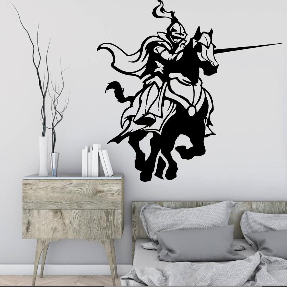Envío Gratis, juego de lucha de caballeros medievales, pegatinas de caballo, calcomanías de pared de salón, mural artístico decorativo para el hogar, papel tapiz F-165