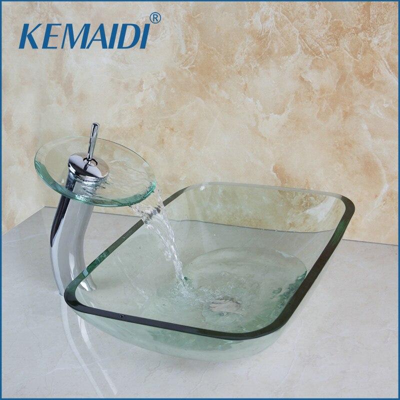 KEMAIDI الحمام حوض الفن مربع مغسلة واضح الزجاج المقسى سفينة غرقت مع الشلال كروم مجموعة الحنفية مع المنبثقة استنزاف