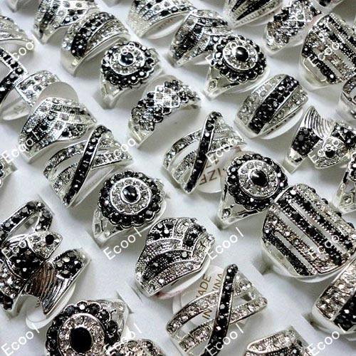 10 pçs por atacado jóias anel lotes moda misturada strass prata chapeado anéis lb173