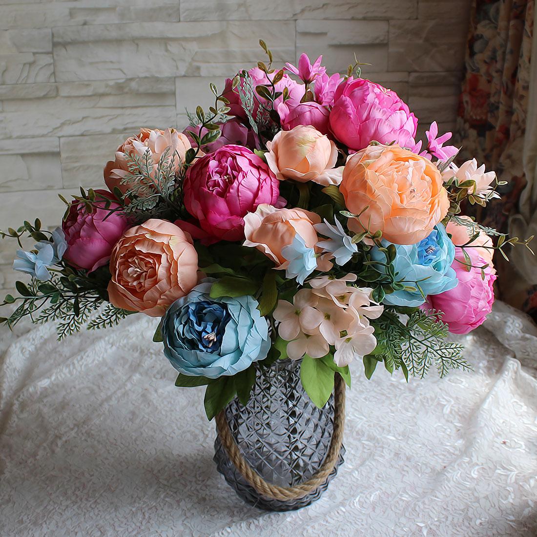 Flores de seda peonía Artificial Vintage europeo Flores falsas para decoración de boda Flores de peonía de seda para el hogar ramo Flores