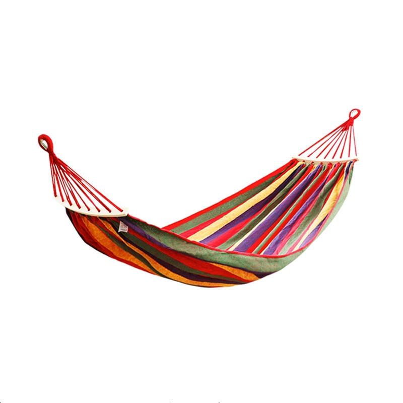 260*80cm 1 gente al aire libre lona Camping hamaca curva palo de madera estable Hamak jardín columpio silla colgante azul Rojo 030