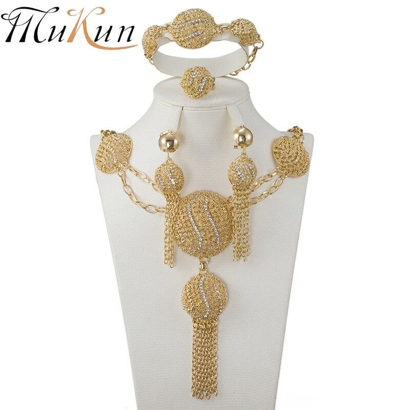Мукун, африканские бусы оптом, набор ювелирных изделий с кристаллами, Модный женский комплект ювелирных изделий из Дубаи, золотое ожерелье, серьги