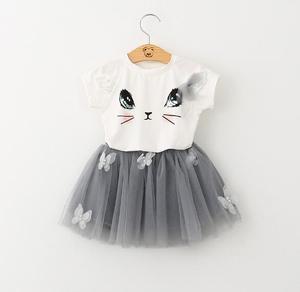 Girl Dress New Summer Casual Style Cartoon Kitten Printed T-Shirts Net Veil Dress 2Pcs  Girls Clothes Children Clothing