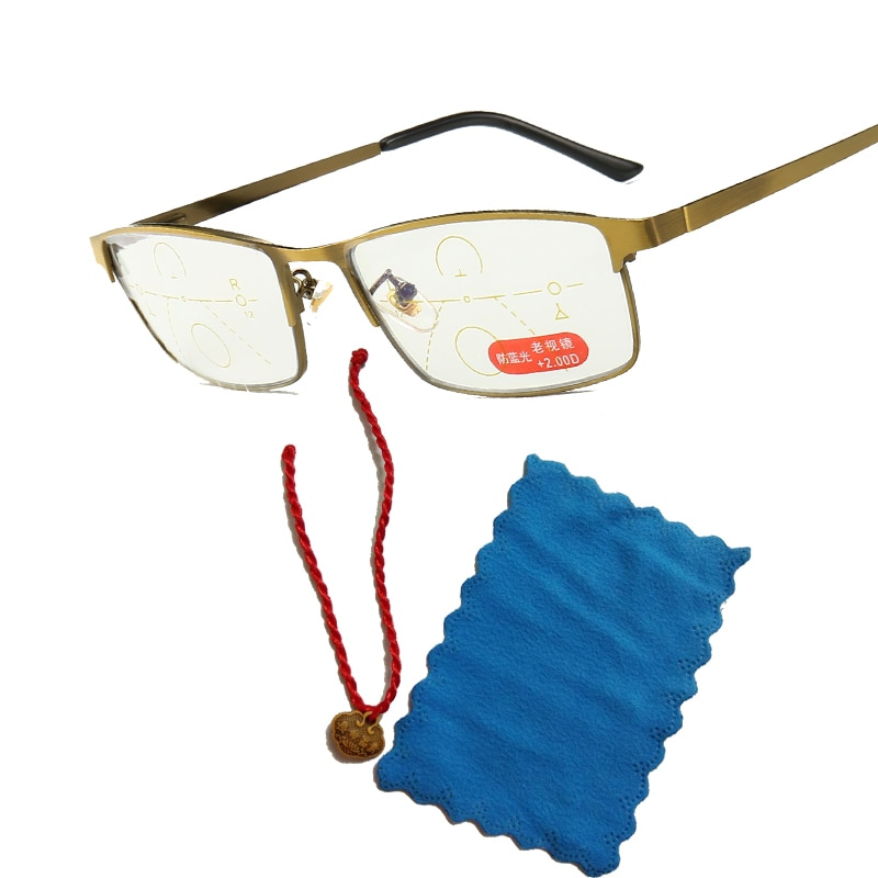 Intelligent zoom progressive reading glasses half-frame commercial presbyopia, hyperopia, multi-focal anti-blue-ray spectacles