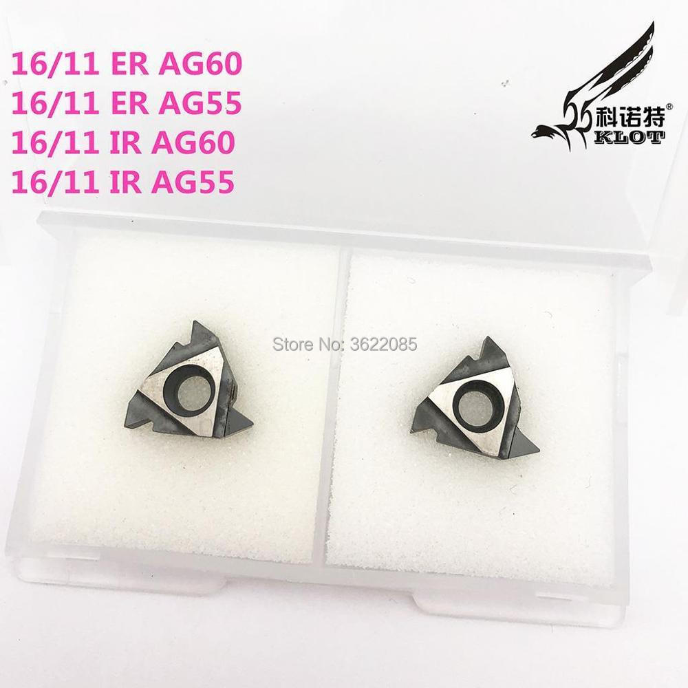 KLOT 2 PCS 16/11 ER AG60/AG55 CBN Ponta de Diamante Ferramenta de Inserção Torno CNC Viragem rosca Externa