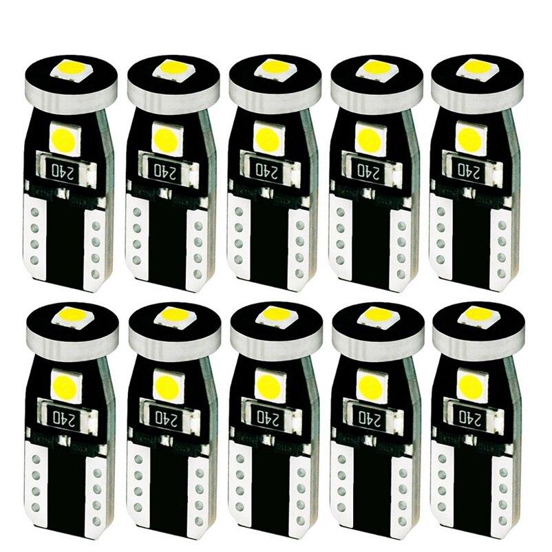 10 Uds T10 3 SMD 3030 LED luces de Auto liquidación W5W 194 168 192 3SMD LED Puerta de coche lámparas de lectura bombillas de domo Canbus sin Error