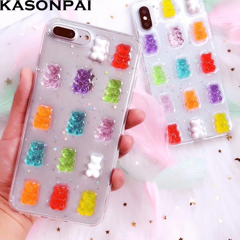 Bonito 3d gummy urso doces cor casos macios para iphone 6 s 7 8 plus xs max xr glitter tpu capa para iphone x sacos de telefone dos desenhos animados
