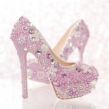 Talons hauts chaussures formelles populaires magnifiques pompes en strass belle lavande violet perle chaussures de mariée spécial événement fête