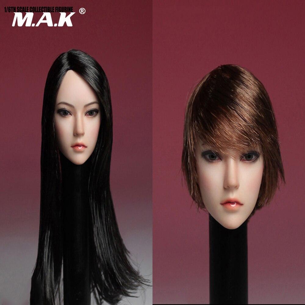 16 escala de Asia cabeza femenina esculpir negro largo recto/marrón Pelo Corto modelo de talla de cabeza juguete para mujer 12 pulgadas figura del cuerpo