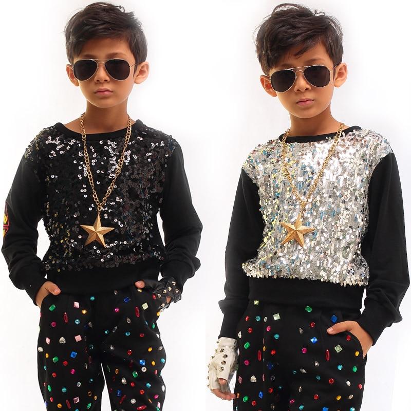 الجاز أزياء رقص الفتيان الترتر الهيب هوب مجموعة بأكمام طويلة قميص السراويل أطفال الشوارع الرقص الملابس الحديثة مرحلة Dancewear DNV11068
