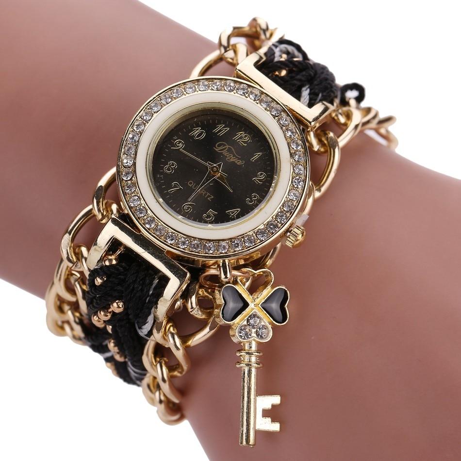 Las mujeres señoras trenzada banda de cristal de cuarzo reloj de pulsera saatzegarki damskie orologio donna montre, relojes femeninos zegarek reloj