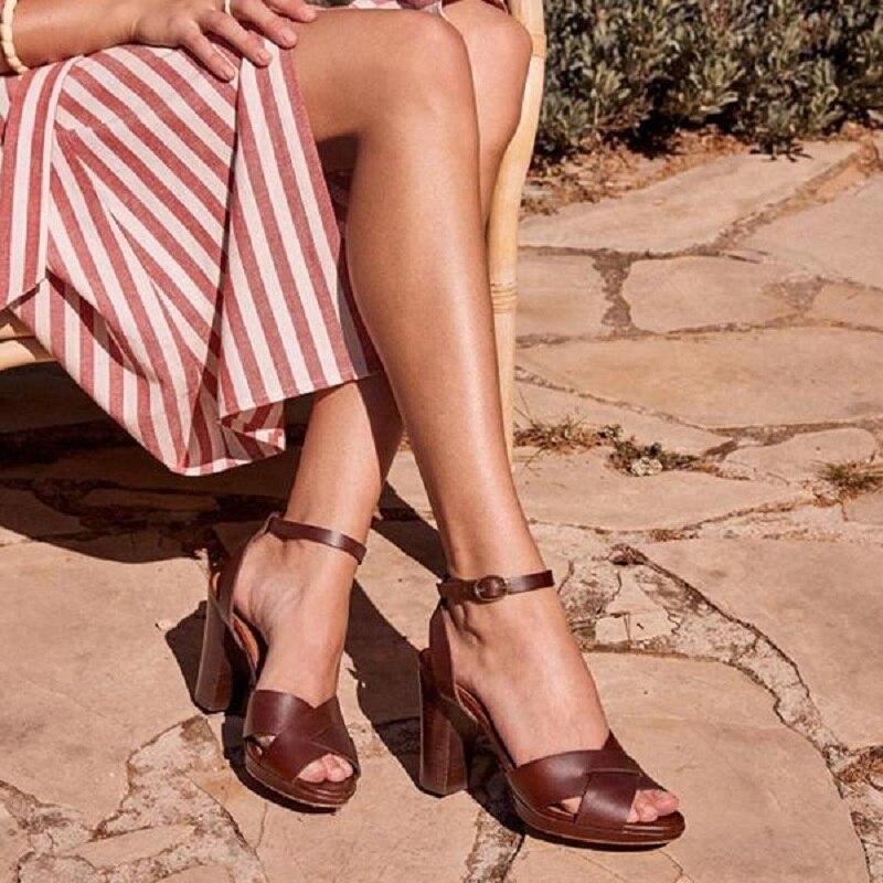 Sandalias de tacón alto para mujer, sandalias de verano con punta abierta cruzado con tiras, zapatos sexis para mujer, sandalias romanas de tacón de bloque con correa de gladiador en el tobillo, talla grande