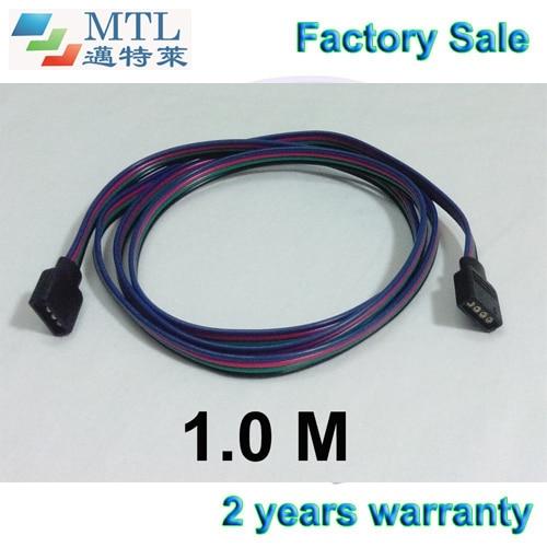 Cable de extensión RGB 1 m de largo 22 AWG, 50 unids/lote, conector hembra de 4 pines, para 5050 RGB LED tira 10mm PCB, fábrica al por mayor