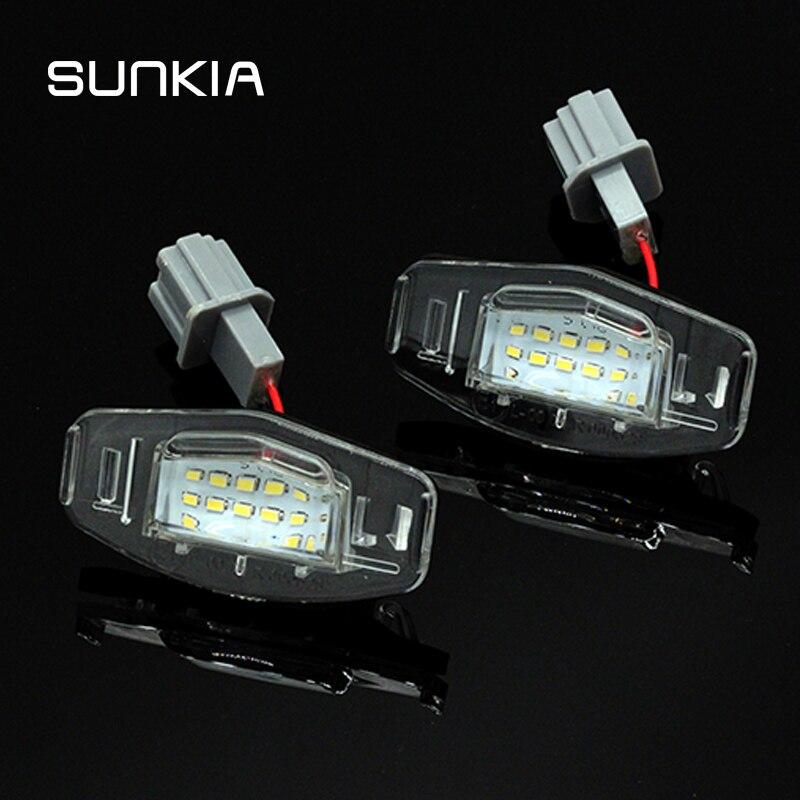 Светодиодная лампа Canbus с номером номерного знака, 2 шт./компл., белый цвет, 6000 К, для Honda Accord Odyssey Acura TSX 01-05
