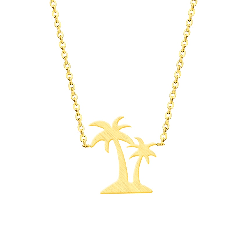 Collar de Palma de playa de verano de acero inoxidable Hawaii doble colgante de cocotero collares mujeres isla vida joyería tatuaje gargantilla